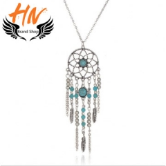 HN-1 Piece/Set New Bohemia folk style feather Blue Turquoise Dreamcatcher Necklaces Pendant Women silver one size