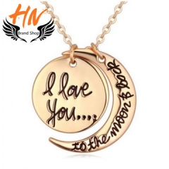 HN 1 Piece/Set New i love you to the moon and back Alloy Necklaces Pendant Women Men Jewellery Gift gold one size