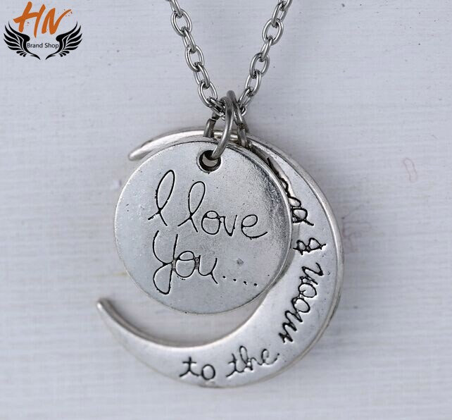 HN 1 Piece/Set New i love you to the moon and back Alloy Necklaces Pendant Women Men Jewellery Gift silver one size