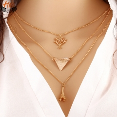 HN 1 Piece/Set New Good luck Tower sapling Alloy Necklaces Pendant Women And Men Jewellery Gift gold one size