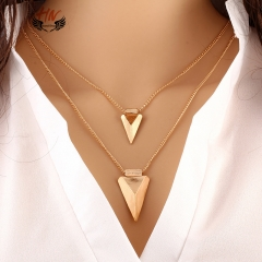HN 1 Piece/Set New Multilayer triangle Alloy Metal Necklaces Pendant Women And Men Jewellery Gift gold one size