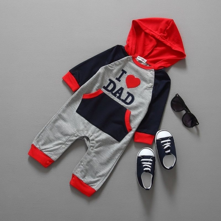 c5100d9c2 I Love Dad Baby Boy Girl Clothes Long Sleeve Hooded Romper Jumpsuit  Bodysuit as picture 12-18 months