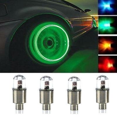 4x Car Motorcycle Bike Wheel Tire Tyre Valve Cap Neon LED Flash Rim Light Lamp