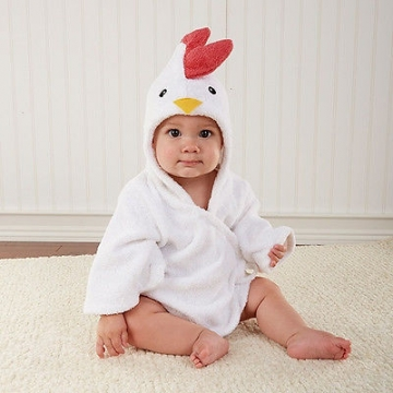 White Chick 0-12 Months Baby Bath Hooded Towel Robe white 0-12 months