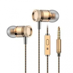 In-Ear Earphone For Phone Bass Earphone With Micphone Metal Stereo Earphones Gold