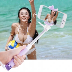 Extendable Selfie Stick Monopod Tripod for iphone Samsung Android Wired Selfies Self-Pole Artifact Purple for Phone