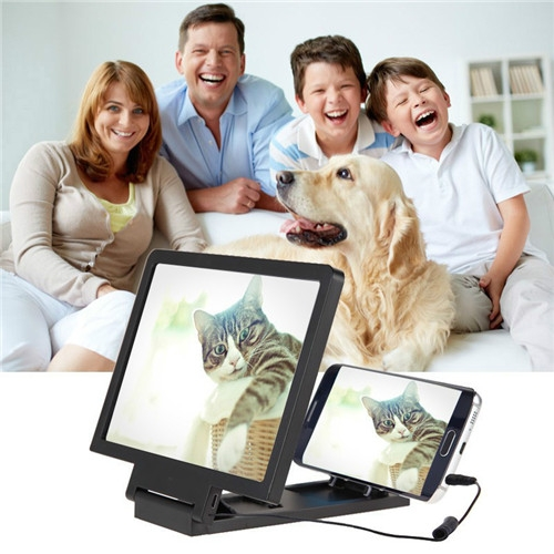 3D Mobile Phones Zoom Magnifying Glass Folding CellPhone Screen HD Magnifier Amplifier For Phone Black PH098 99