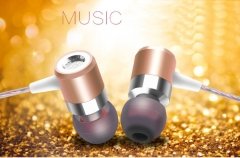 Sport Earphone Running Headphones Metal In-ear Headphone In-line Control Earphone with Microphone Gold