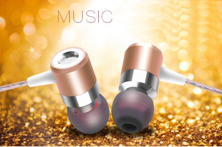 Sport Earphone Running Headphones Metal In-ear Headphone In-line Control Earphone with Microphone Gold