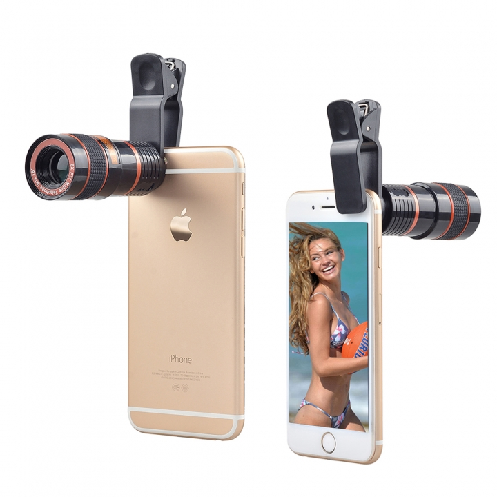Universal Clip 8X Zoom Mobile Phone Telescope Lens Telephoto External Smartphone Camera Lens Black PH391B 99