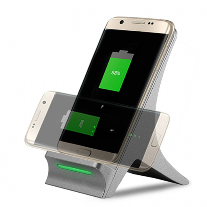 Portable 2 Coils Fast Wireless Charger Vertical Qi Charging Transmitter  Charging Pad PhoneHolder Silver for Phone