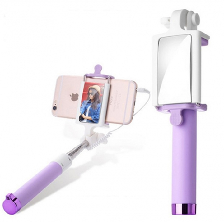 Selfie Stick with Rearview Mirror Wired Remote Shutter Monopod Selfie Stick Purple for Phone