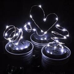 Christmas String Light LED Fairy Light Solar Mason Jar Lid Lights Color Changing Garden Decor White 1M