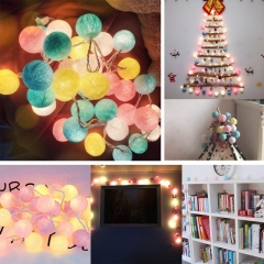 Cotton BALL String Light For Xmas Feast Table Ornament Light Lamp Led Strip Home Bedroom Decor 1.8M-10LED for Outdoor