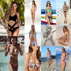 Women Sexy Bikini Set Swimsuit Bandeau Push Up Swimwear Bathing Suit Beachwear 17#-S S-M-L