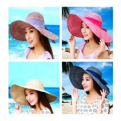 Summer Hats for Women Fashion Design Women Beach Sun Hat with Foldable Brimmed Blue