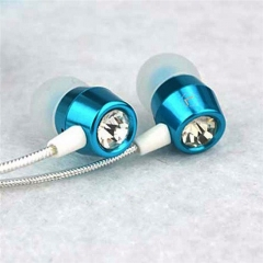 In-Ear Earphone For Phone Bass Earphone With Micphone Metal Stereo Earphones blue