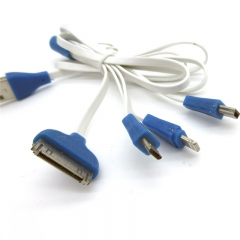 4 in 1 Charging 8 Pin Micro USB 4in1 Charging Cable Multi Charger Cable blue for phone