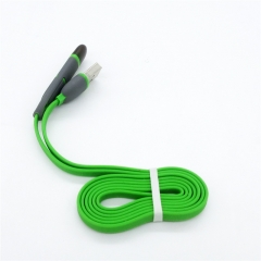 1M Noodle Type Combo Charging Cable 2 in 1 Lighting/Micro USB Data Cable for iOS/Android green for iOS/Android
