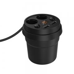 12V 24V Cup Dual USB Port Cigarette Lighter Car Charger for Digital Devices black for Digital Devices
