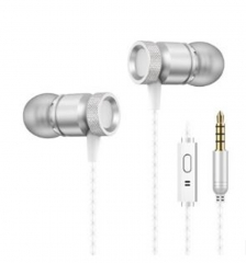 In-Ear Earphone For Phone Bass Earphone With Micphone Metal Stereo Earphones silver