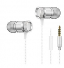 Earphone Metal Super Bass In Ear Earphones With Microphone 3.5mm Line Type Portable Earbuds silver
