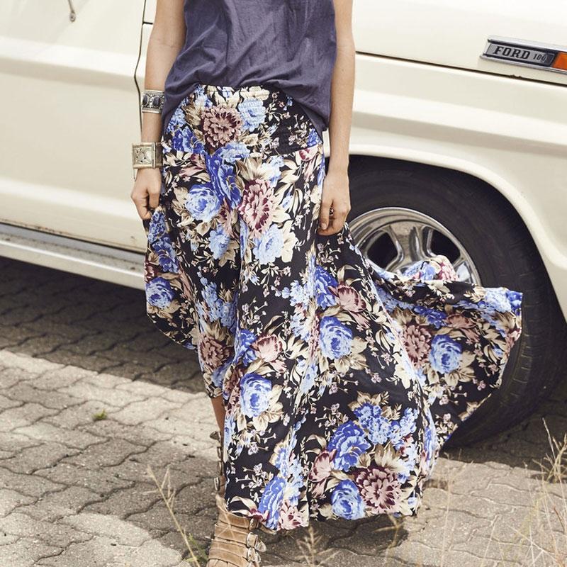 81863744b51b Girl Vintage Floral Print Long Skirt 2017 New Summer Elegant Maxi ...