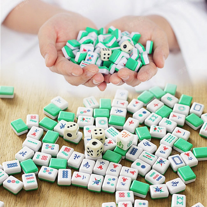 Portable Mahjong Set Chinese Antique Mini Mahjong Games Mini Mahjong Chinese Family Table Board Game Blue Normal