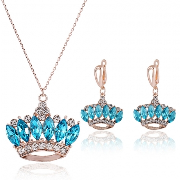 Women's  Jewelry Sapphire Crystal Royal Crown Pendant Necklace and Earrings Jewelry Set blue one size