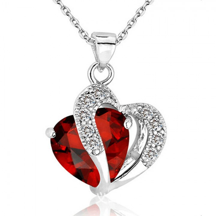 Women's 925 Silver Plated Crystal Gemstone Amethyst Heart Pendant Necklace Red one size