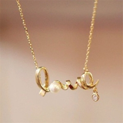 LOVE Letters Personalized Diamond Necklace Jewellery gold color one size