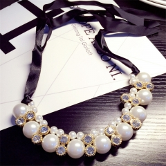 Adjustable Ribbon Chain Diamante Pearl Necklace Jewellery white one size