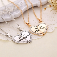 Fashion Heart-shaped Pendant Necklace Best Friend Jewellery silver color one size