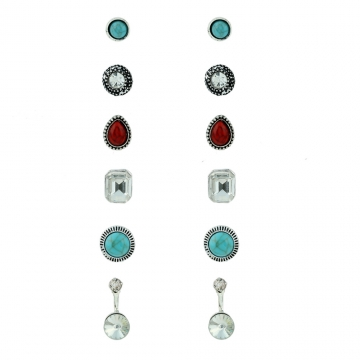 Europe and the United States fashion jewelry earrings glass resin drilling combination ear studs 6 pairs one size