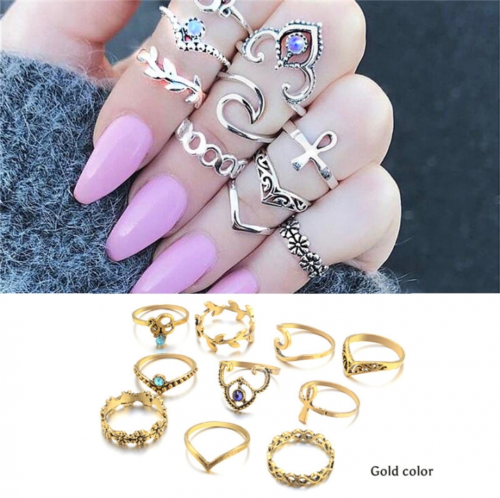 Retro Bohemia Twisted leaves Flower Cross hollowed out 10 pieces Ring set Jewellery gold color one size