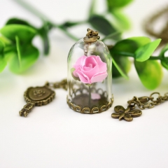 Glass cover Dried flower necklace have more cash than can be accounted for Lovers Key Necklace Rose pink one size