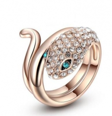 Fashion Snake Rings For Women Rose Gold Color Crystal Austrian Luxury Romantic Ring Animal Jewelry gold color 7