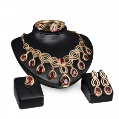 African Beads Jewelry Sets Imitated Crystal Necklace Set Earrings Gold Color Pendant Accessories gold color one size