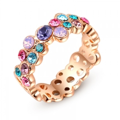 Colorful Ring for Women Classic Rose Gold And White Gold Color Womens Wedding Party Finger Rings gold color 7