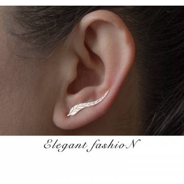 Leaves Ear Stud Lady Earrings Golden 2.3cm