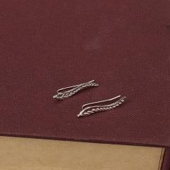 Leaves Ear Stud Lady Earrings Silver 2.3cm