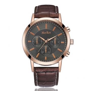 Brand Leather Classic Black Dial Fashion Men Watches Casual Bussiness Men Quartz Luxury 1