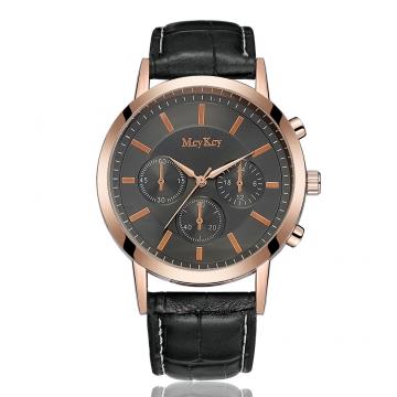 Brand Leather Classic Black Dial Fashion Men Watches Casual Bussiness Men Quartz Luxury 4