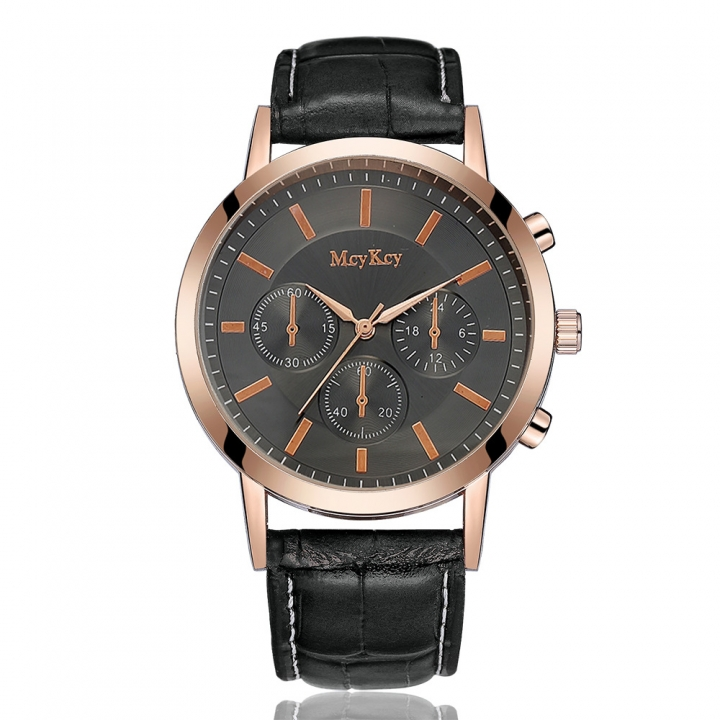Brand Leather Classic Black Dial Fashion Men Watches Casual Bussiness Men Quartz Luxury 4