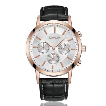 Brand Leather Classic Black Dial Fashion Men Watches Casual Bussiness Men Quartz Luxury 6