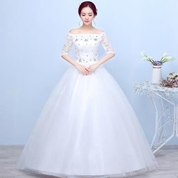 2017 New Wedding Dress Korean Word Shoulder And Shoulder Bride Long