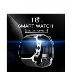 T8 Bluetooth Smart Watch With Camera  Facebook Whatsapp Sync SMS Smartwatch Support SIM TF Card white