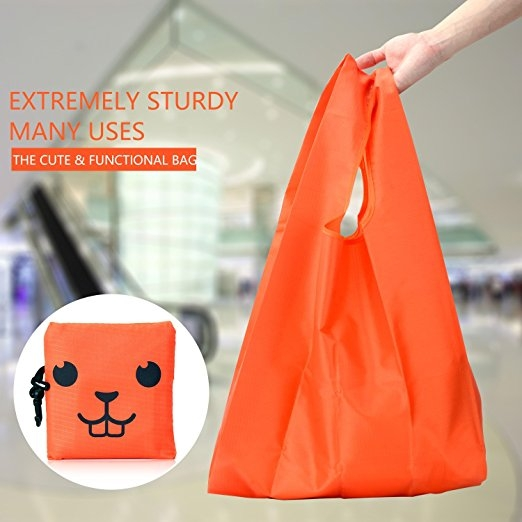 dc08e6bab Reusable Grocery Bags Foldable Shopping Bag Ripstop Nylon bags Cute ...