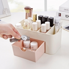 Cosmetic Jewelry Organizer Office Storage Drawer Desk Makeup Case Plastic Makeup Brush Box as shown