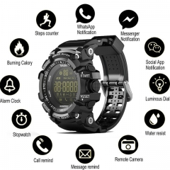Bluetooth Clock EX16 Smart Watch Notification Remote Control Pedometer Sport Watch IP67 Waterproof black